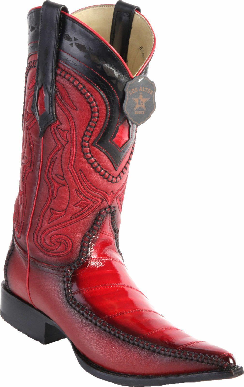 LOS ALTOS MEN COGNAC GENUINE EEL ROUND TOE WESTERN COWBOY BOOT EE