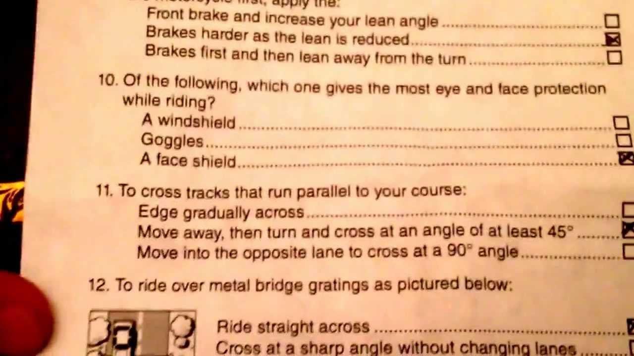 California DMV Motorcycle Permit Exam #4 | bikes | Driving