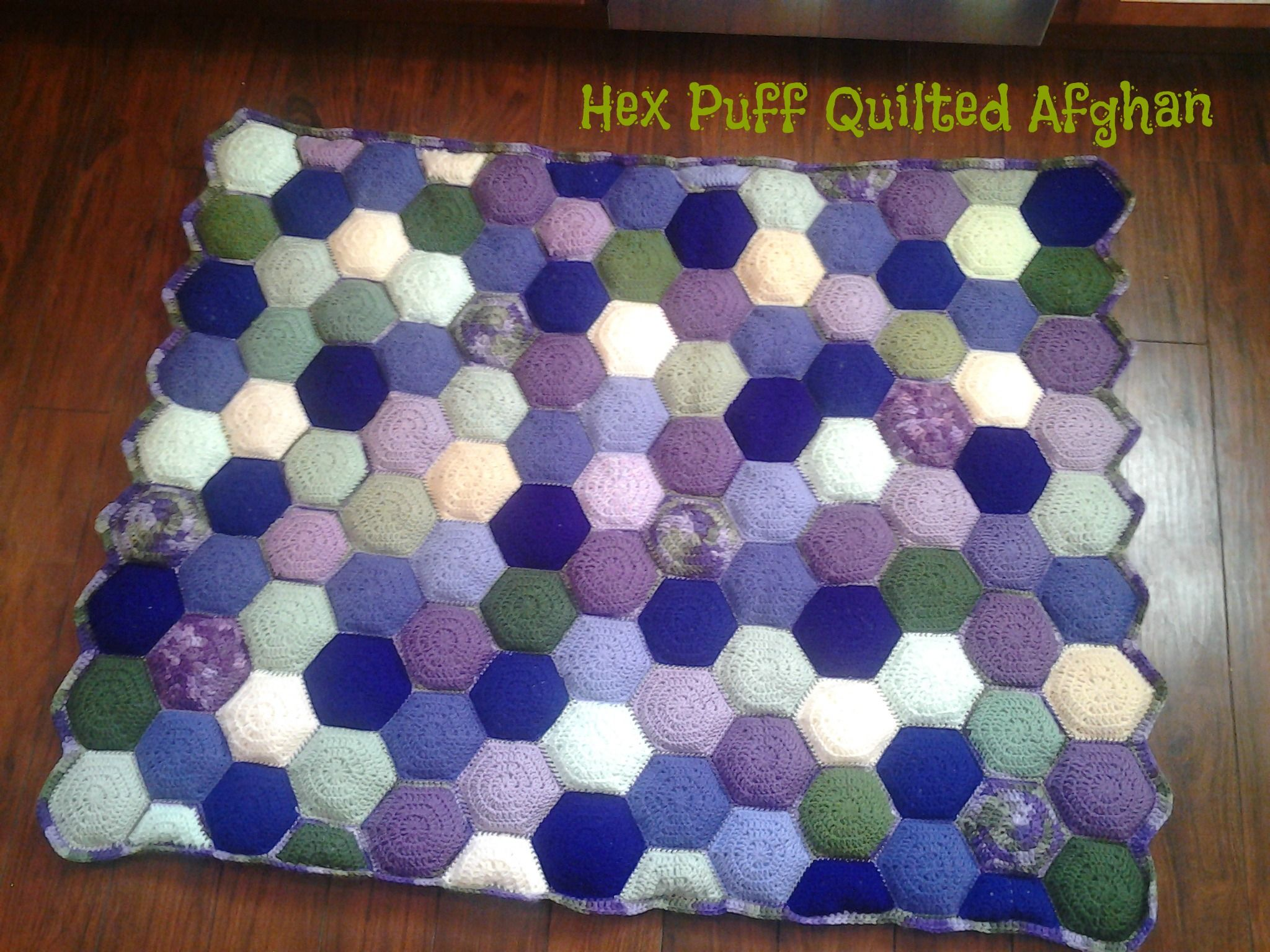 I MADE THIS!** Hex-Puff Quilted Afghan that I made for my nice. I ...