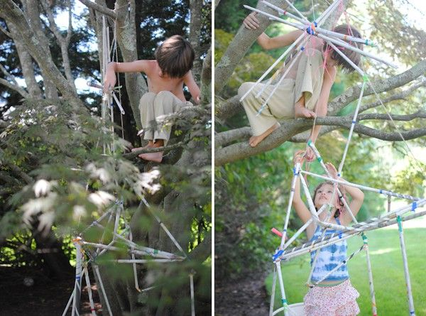 newspaper tube sculpture nature-outdoor-play