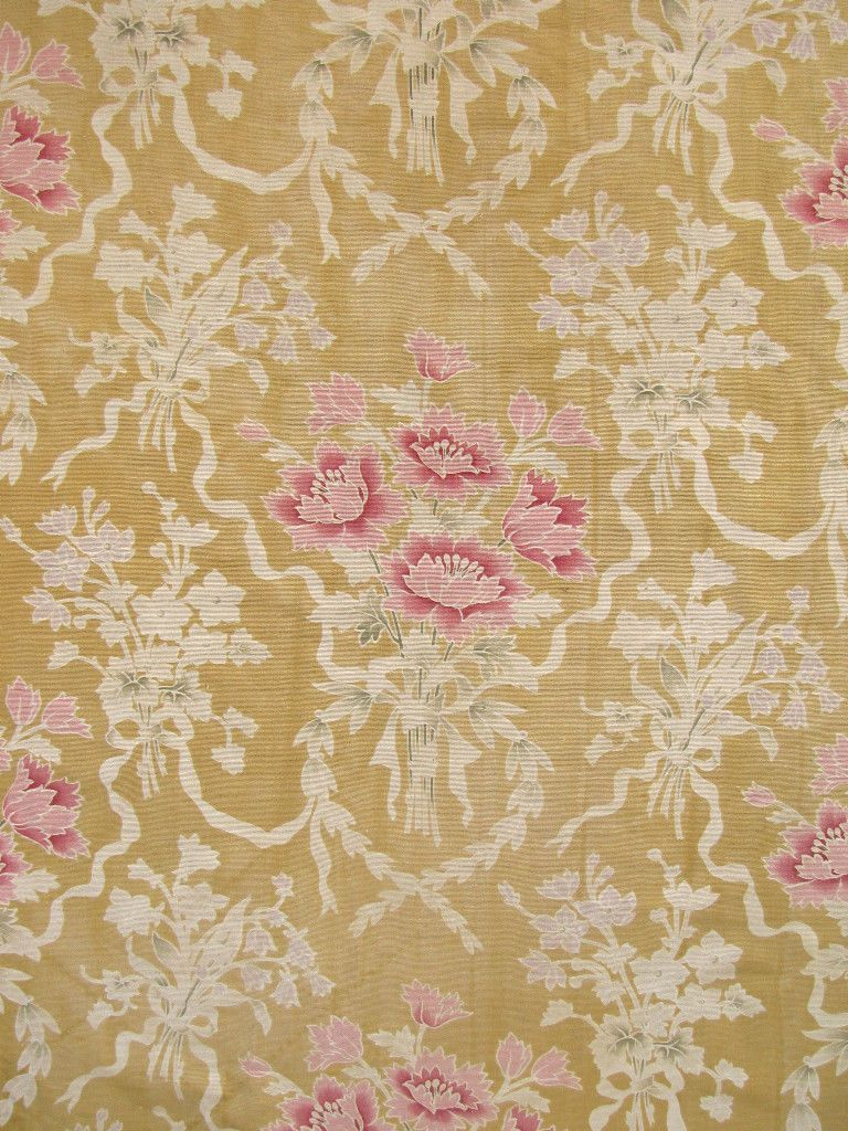 Antique French Floral Fabric Gorgeous Floral and Ribbon Pattern Material | eBay