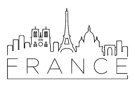 France Skyline Vinyl Wall Art Assorted Sizes And Colors Available City Drawing City Sketch Skyline Drawing