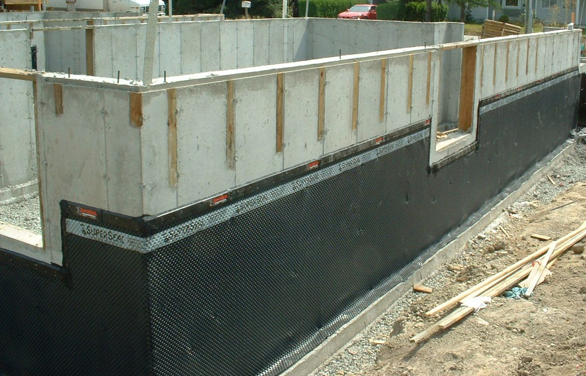Superseal Dimpled Membrane Installed On A Concrete Foundation Waterproofing Basement Basement Waterproofing Diy Waterproofing Basement Walls