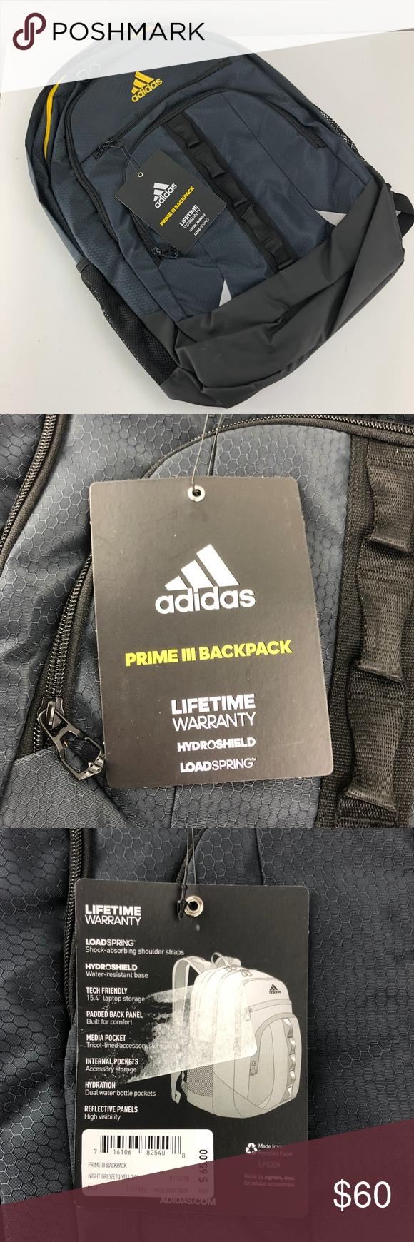 Adidas Prime III Backpack Black Yellow NEW NEW With Tags Adidas Prime III  Backpack Black Yellow 50ef5159216b3