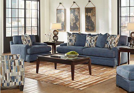 Cindy Crawford Home Lake Michigan Blue 5 Pc Living Room In