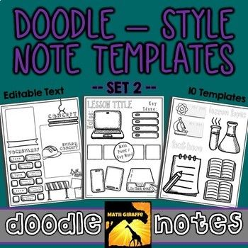 editable doodle note templates set 2 integrating art in other
