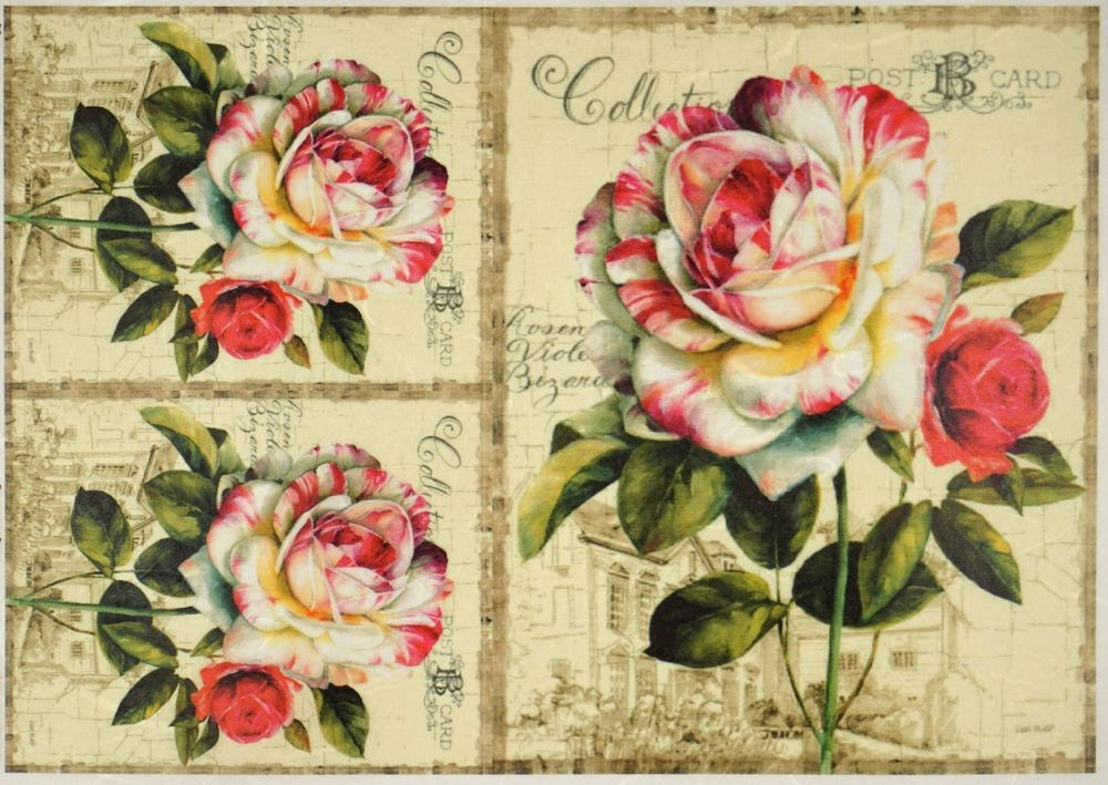 Rice Paper for Decoupage Decopatch Scrapbook Craft Roses tiara