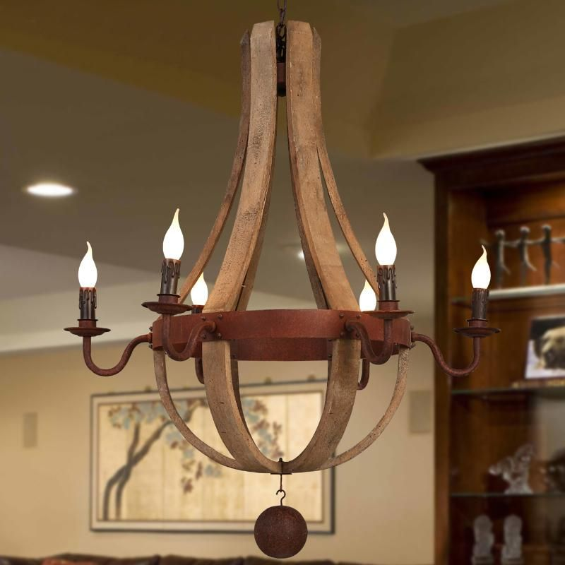 Wrought Iron And Wood Chandelier In 2020 Wrought Iron