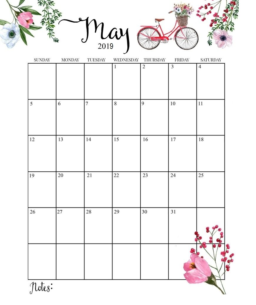 photo regarding Cute Monthly Calendar Printable titled adorable 2019 calendar printable thirty day period calendarmay 2019 calendar