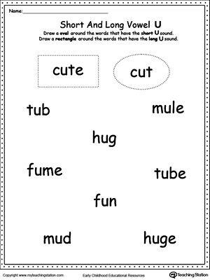 Vowels Short Or Long U Sound Words Short Vowel Worksheets Vowel Worksheets I Sound Words