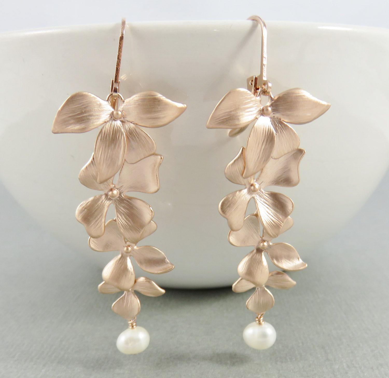 Selling out fast Rose Gold Orchid Earrings 4 cascading orchids