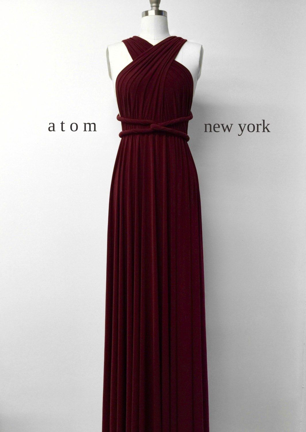 Burgundy Wine Red Long Floor Length Ball Gown Infinity Dress