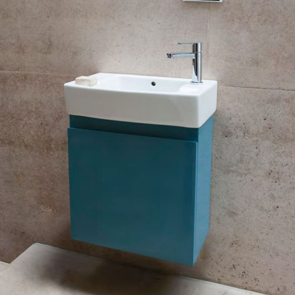 Britton Aqua Cabinets Compact 505mm Wall Hung Cloakroom Vanity Unit In  Ocean additional image. Britton Aqua Cabinets Compact 505mm Wall Hung Cloakroom Vanity