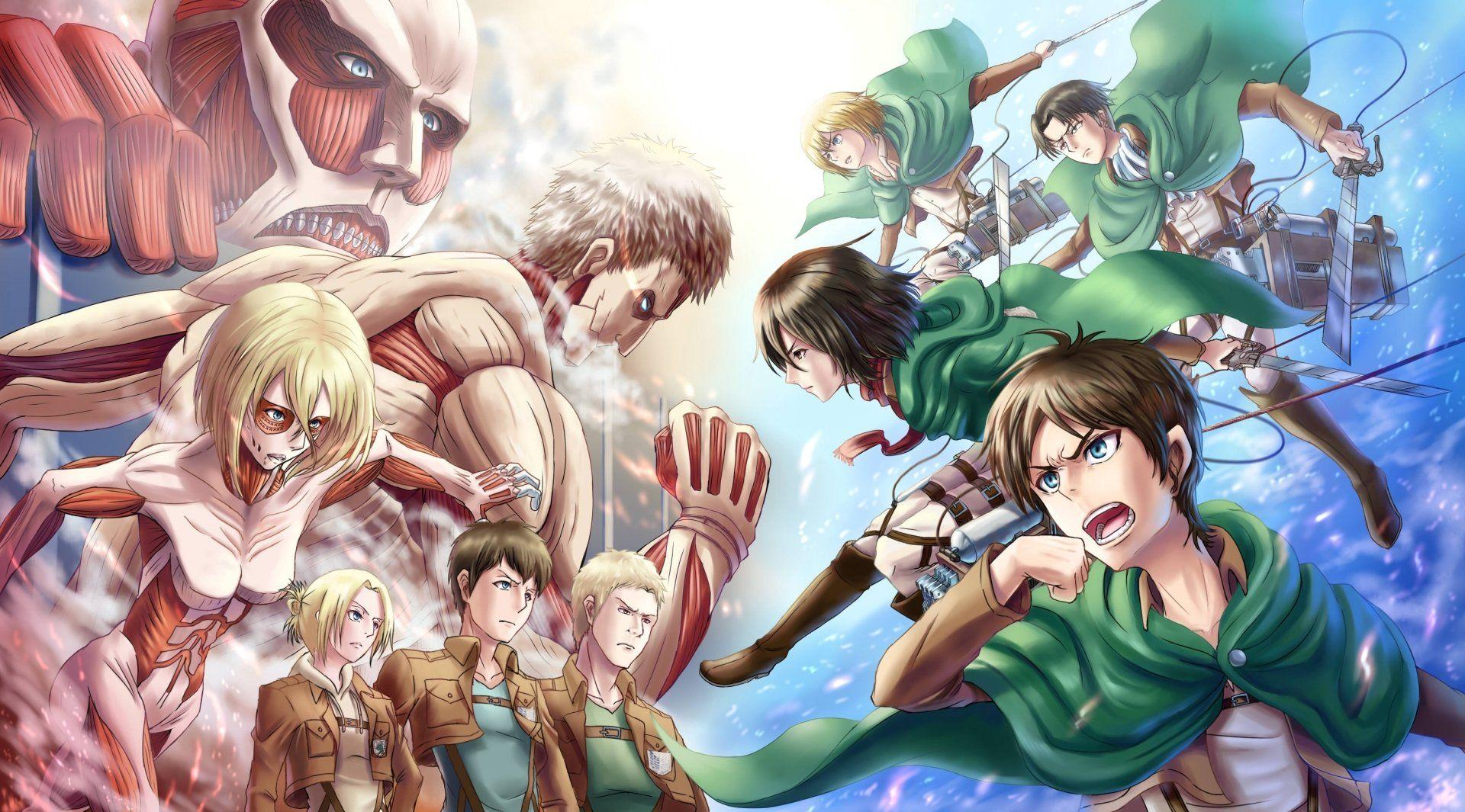 Anime Attack On Titan Eren Yeager Mikasa Ackerman Levi Ackerman Armin Arlert Annie Leonhart Bertolt Hoover Reiner Bra Anime Attack On Titan Hd Anime Wallpapers