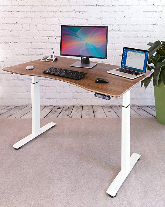 Amazon Com Seville Classics Offk65820 Airlift S2 Electric Standing Desk With 54 Top Dual Motors 4 Memory With Images Adjustable Height Standing Desk Standing Desk Desk