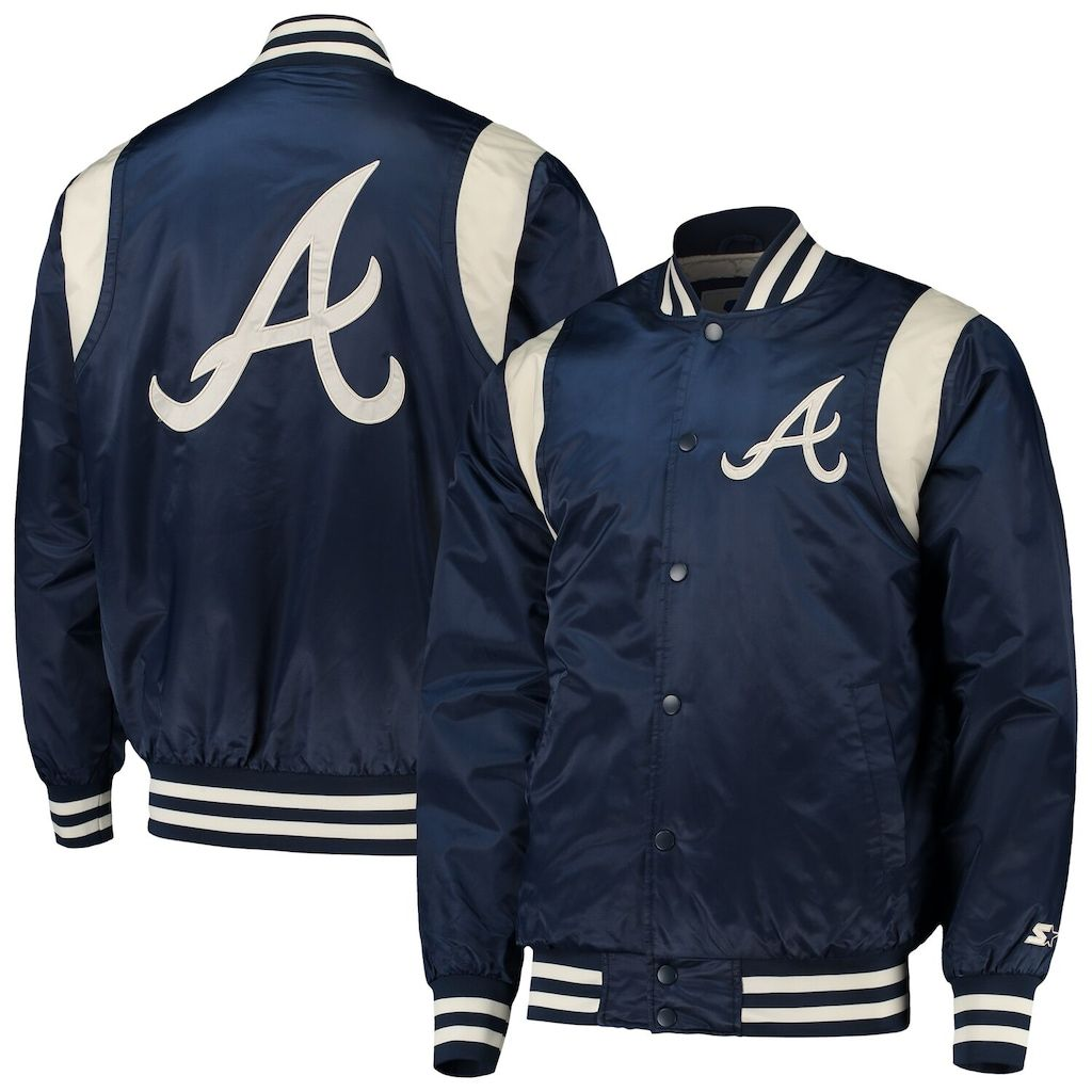 Men S Starter Navy Cream Atlanta Braves Vintage Varsity Satin Full Snap Jacket Size Large Brv Blue In 2020 Throwback Outfits Jackets Atlanta Braves