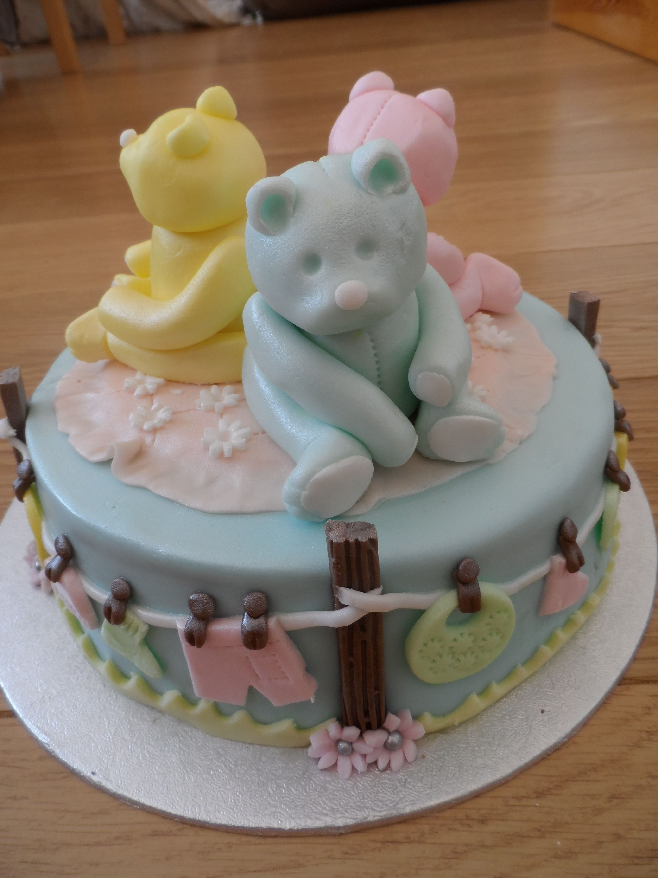 A cute non gender specific baby shower cake baby shower