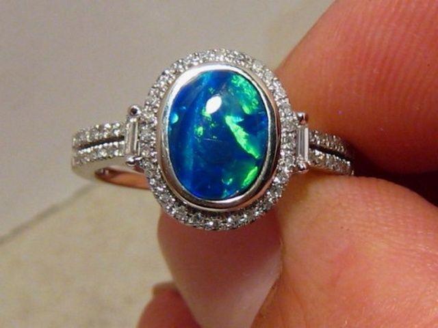 black opal engagement rings - Black Opal Wedding Rings