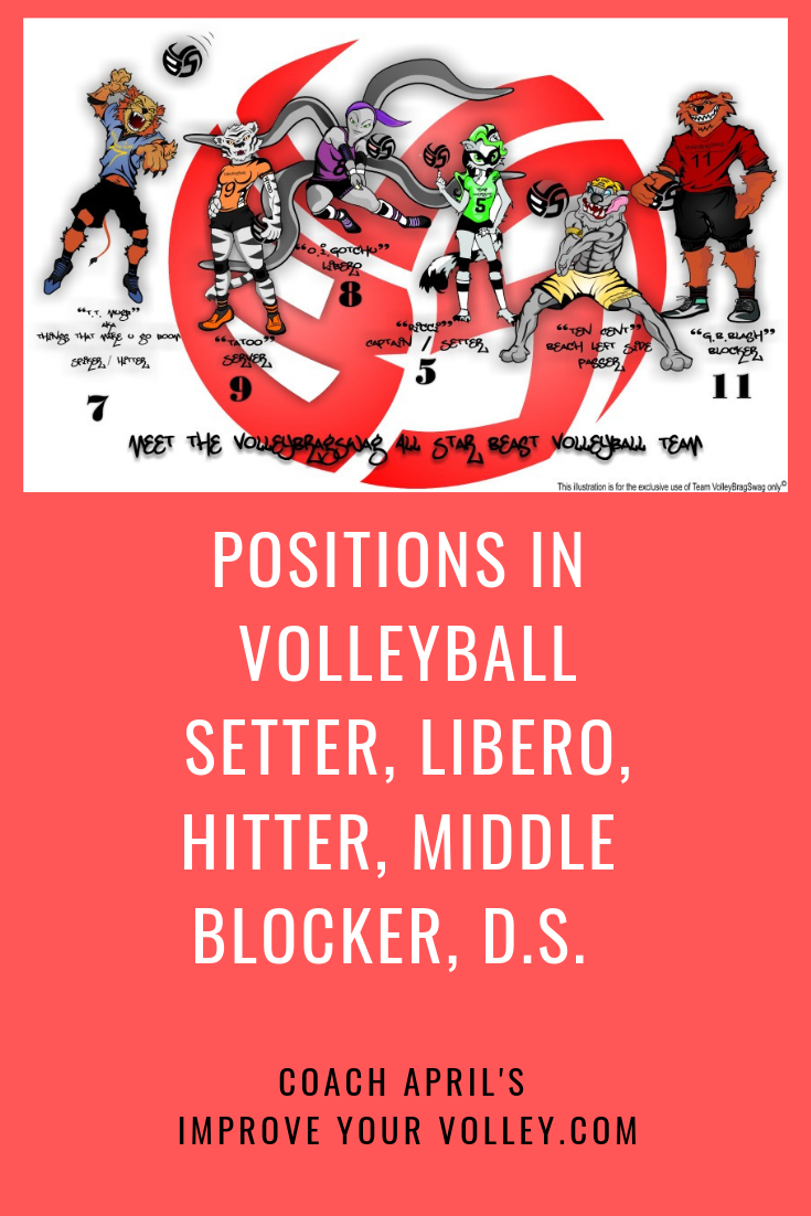 6 Positions In Volleyball Setter Libero Hitters Middle Blocker D S Volleyball Positions Volleyball Positivity
