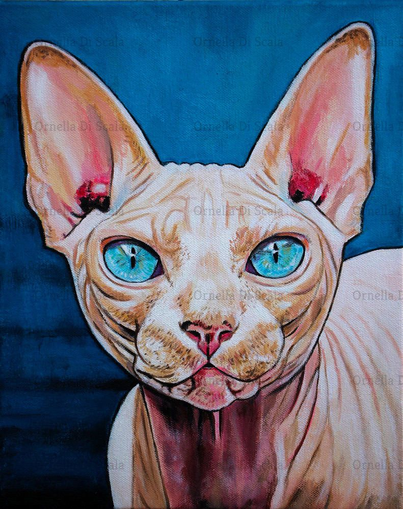 Details about Sphynx cat portrait acrylic on canvas