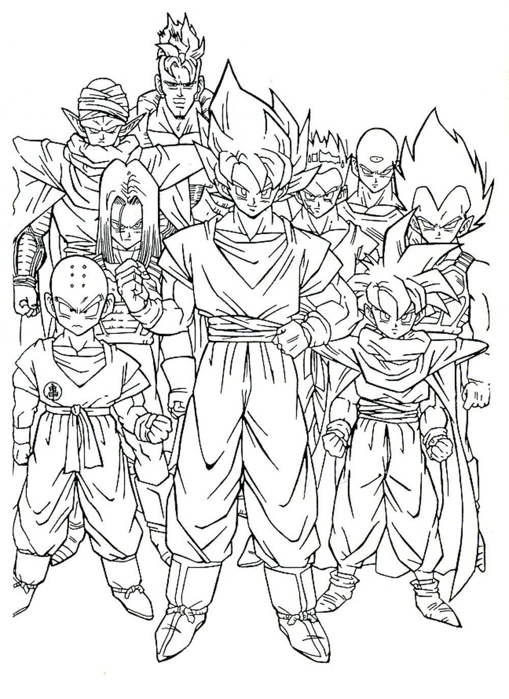 pintura de Goku y los guerreros Z para imprimir y colorear | Imagen ...