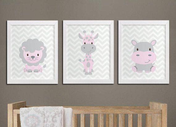 Nursery printable safari animals wall art set, lion hippo and ...