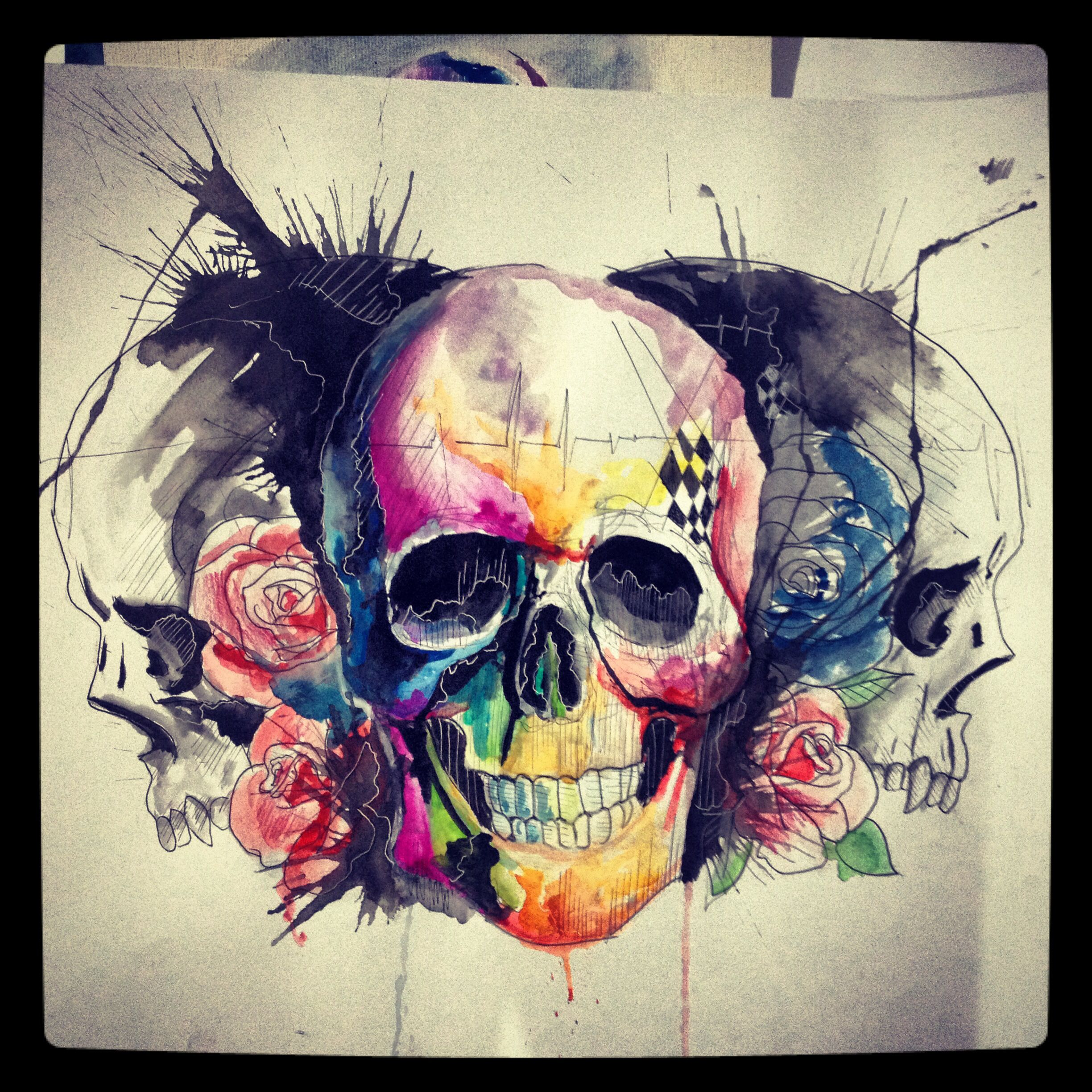 skulls watercolor lcjunior watercolor splash