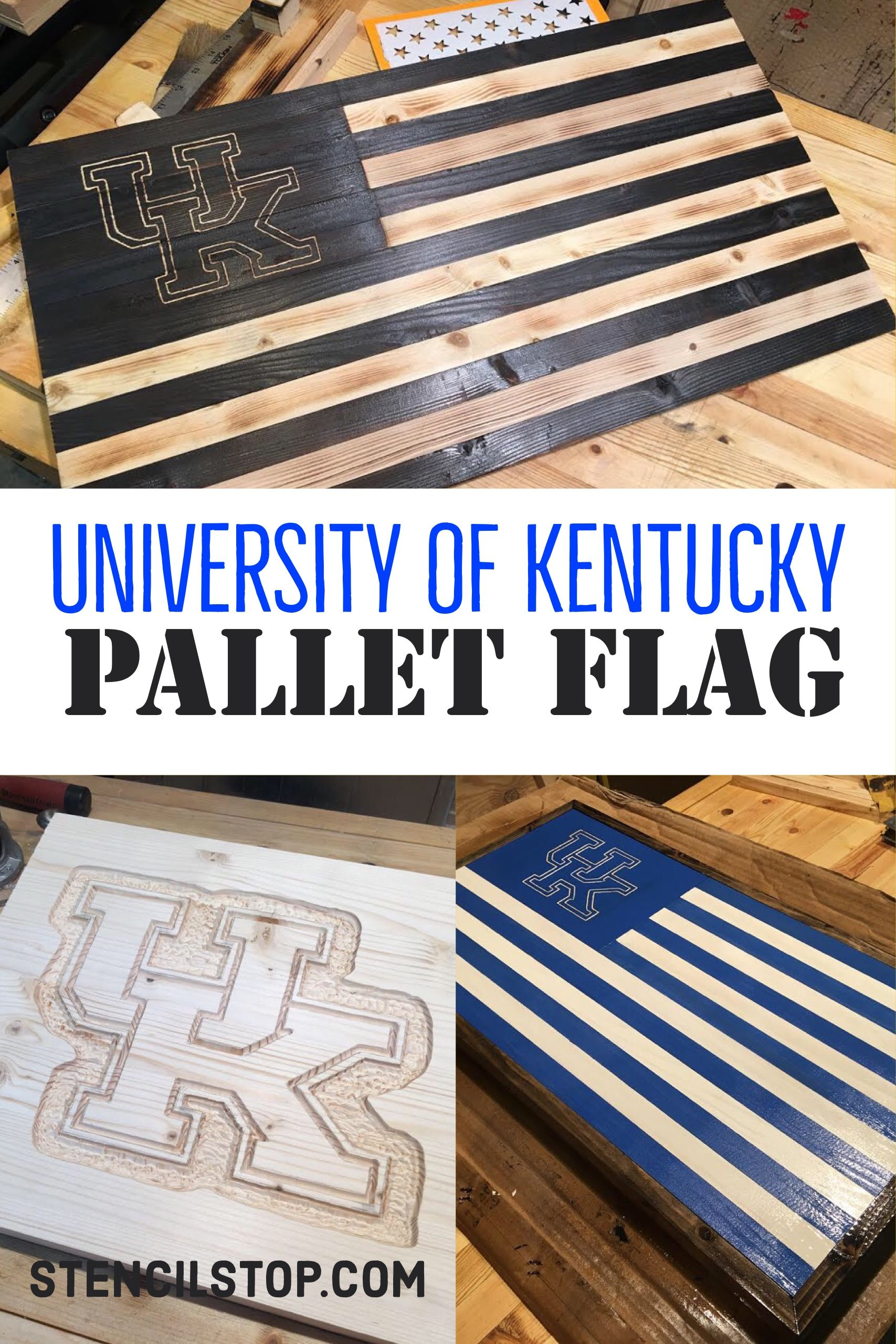 University of kentucky wildcats pallet american flag our customers use our stencils to create cornhole boards and signs decorate the walls and the ground and paint tables and chairs every single day amipublicfo Gallery