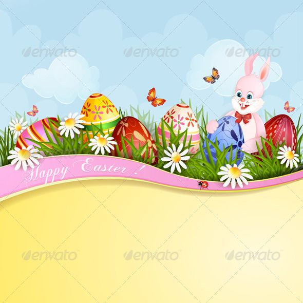 Easter Greeting Card with Bunny Format, Texts and Butterfly cards - greeting card format