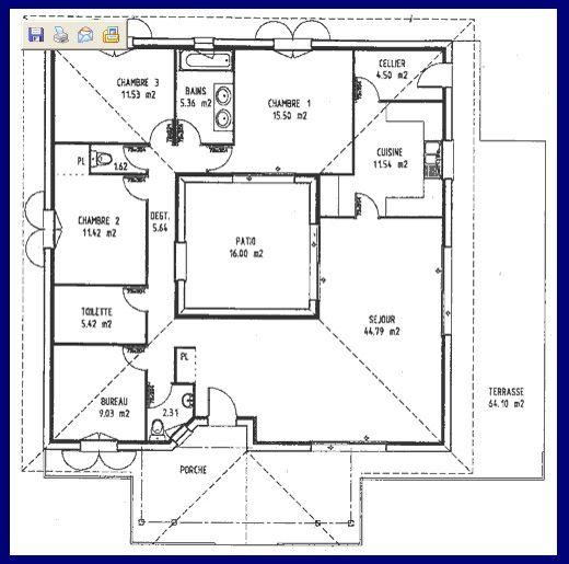 3ch + bureau autour du0027un patio Ajouter sdb derrière le bureau pour - Faire Les Plans De Sa Maison En D