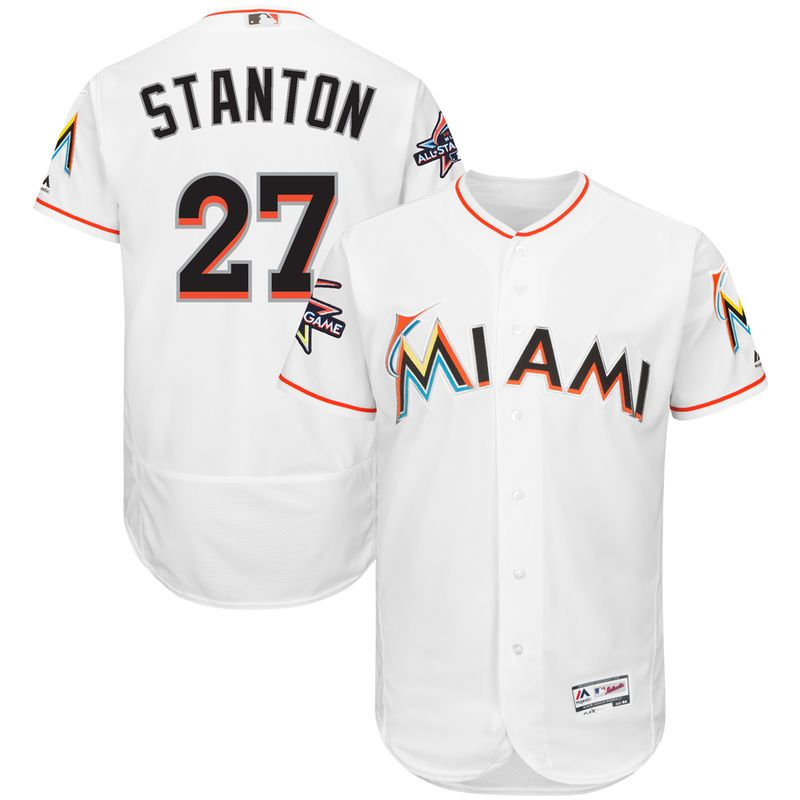 3c48c5f79 Giancarlo Stanton Miami Marlins Majestic Home Authentic Collection On-Field  Flex Base Player Jersey with 2017 All-Star Game Patch - White