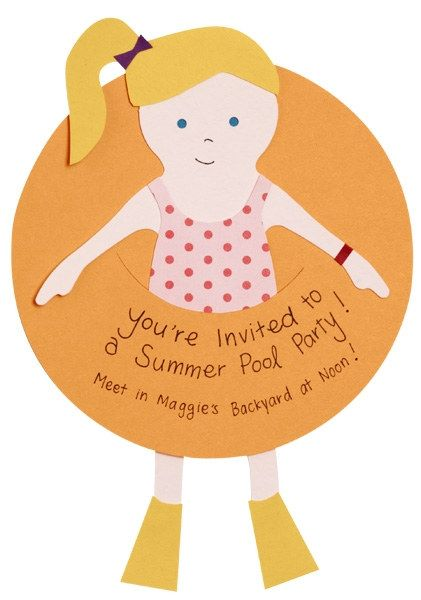 Cool for a pool party  Can be customized for a male or female party   make your own invitations - Paper Source Blog 1