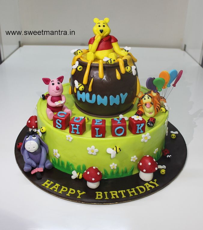 Homemade eggless Winnie the pooh and friends theme 2 layer