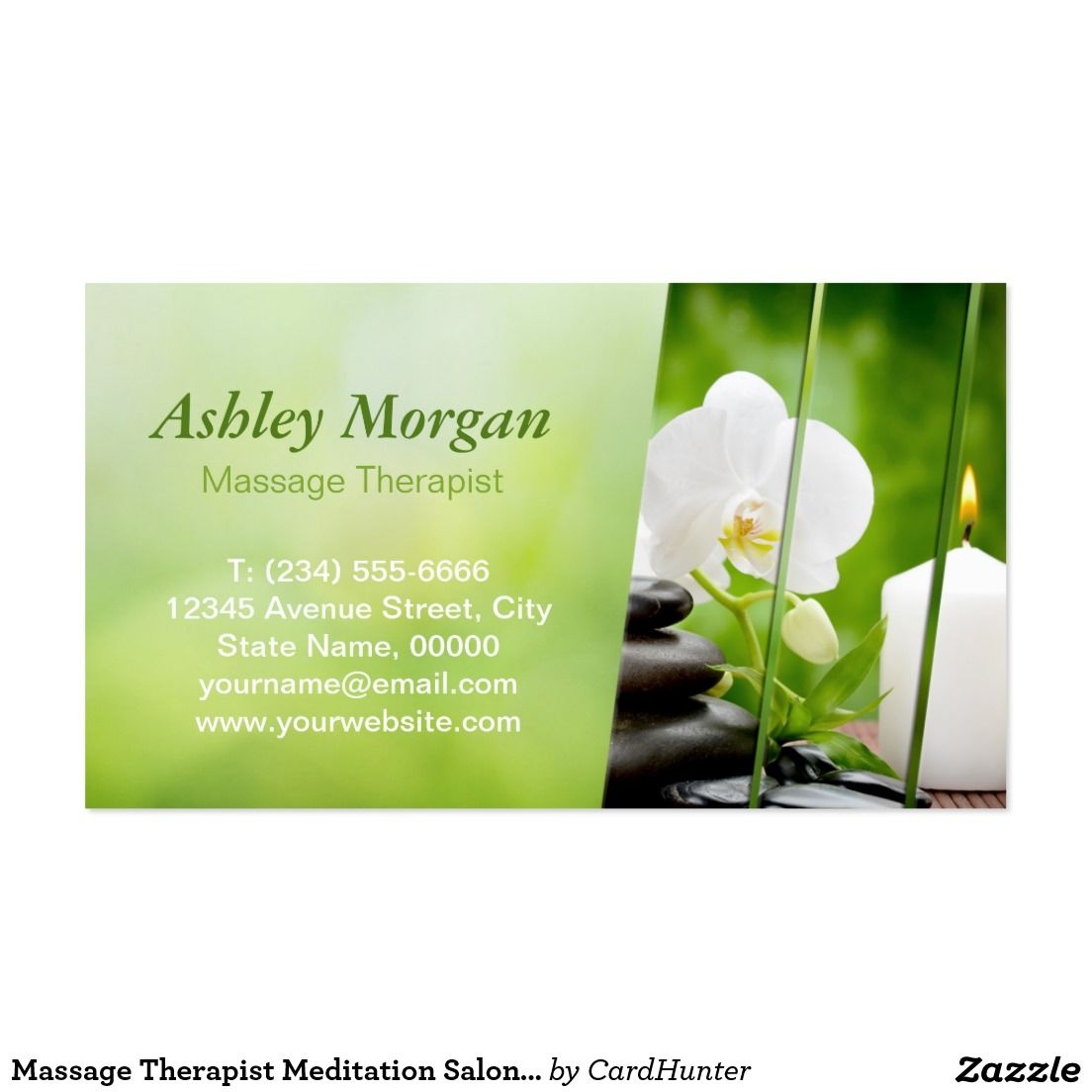 Massage Therapist Meditation Salon Appointment Business Card ...