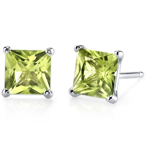 Peora.com - 14 kt White Gold Princess Cut 2.00 ct Peridot Earrings E18504, $114.99 (http://www.peora.com/14-kt-white-gold-princess-cut-2-00-ct-peridot-earrings-e18504/)