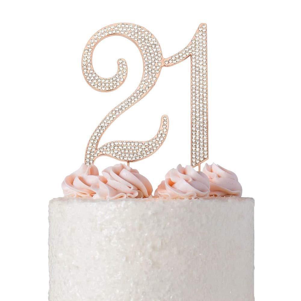 21 rose gold cake topper premium sparkly crystal