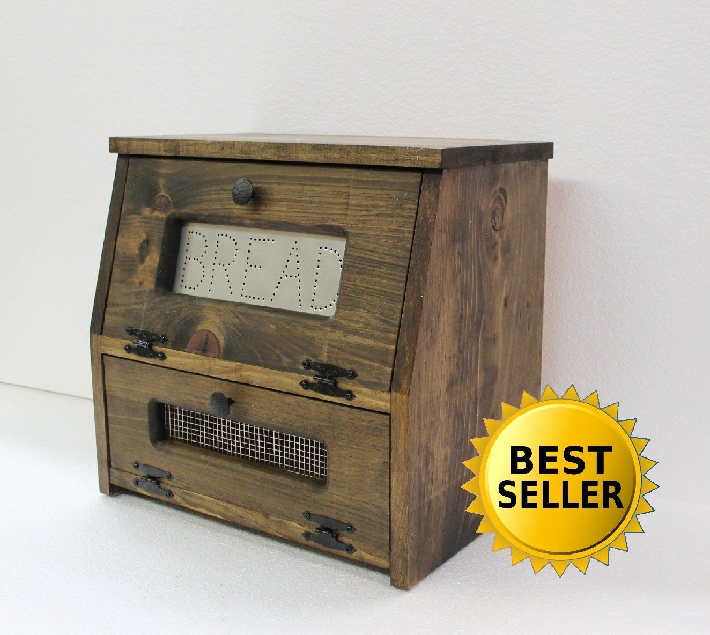 Farmhouse Kitchen Bread Box Bin wooden Punched Tin Storage