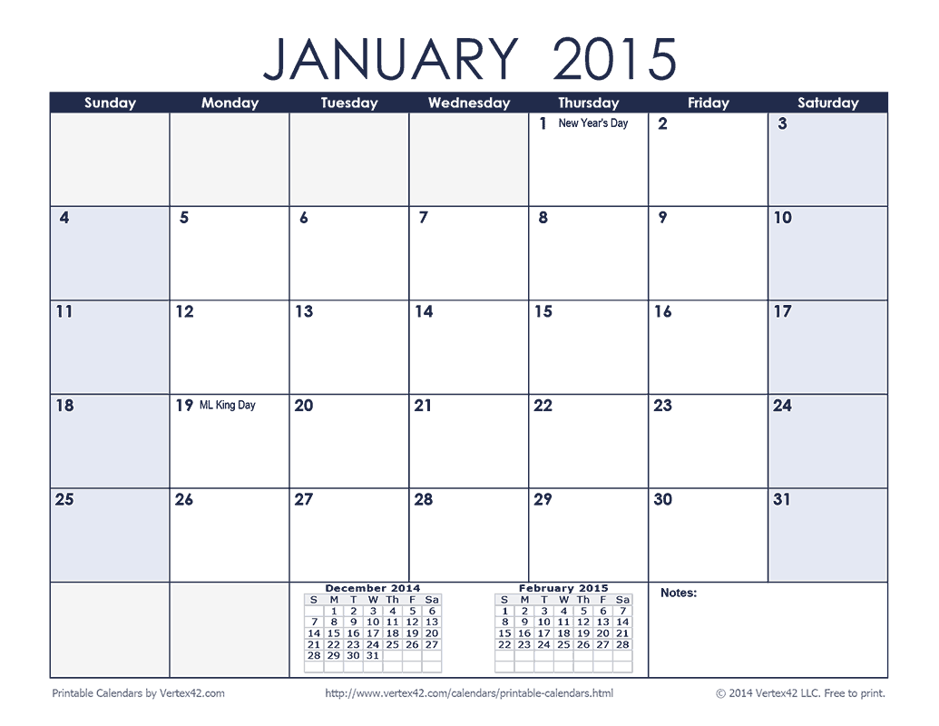 Download A Free 2015 Monthly Calendar Blue From Vertex42