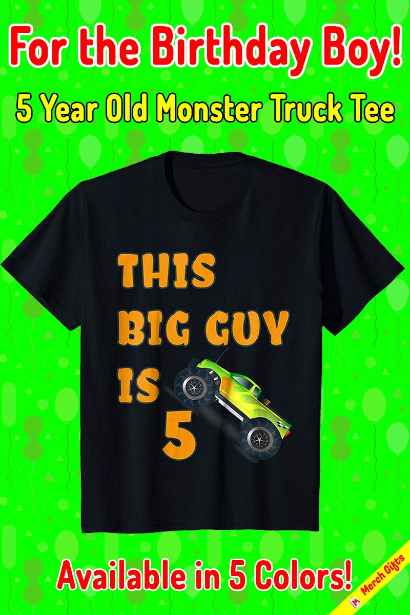 Monster Truck Shirt for 5 Year Old Birthday Boy Gift If