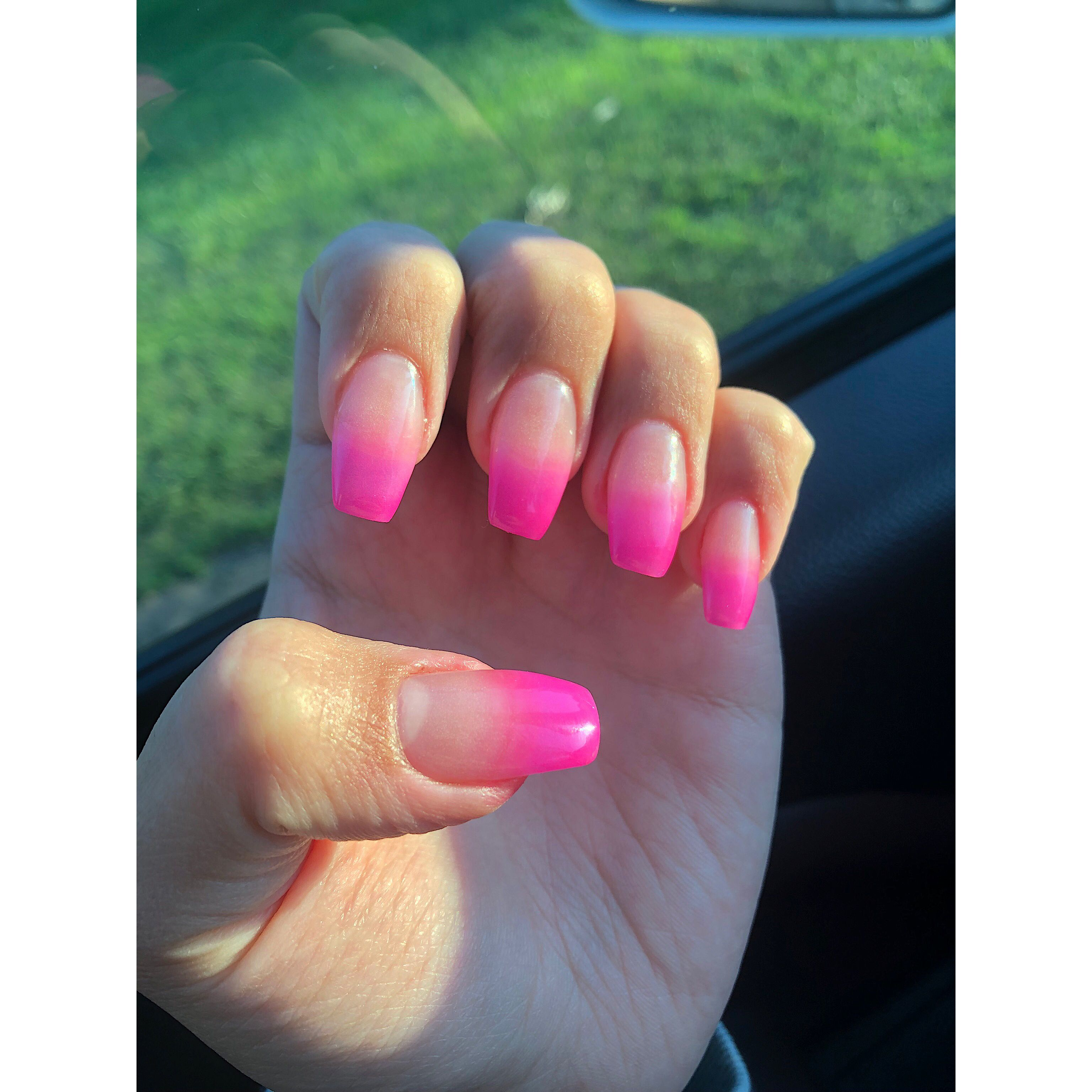 Coffin Hot Pink Ombre Dip Powder With Images Pink Ombre Nails Hot Pink