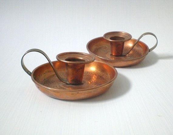 Vintage Copper Candle Holders Set Of 2 Brass Handheld