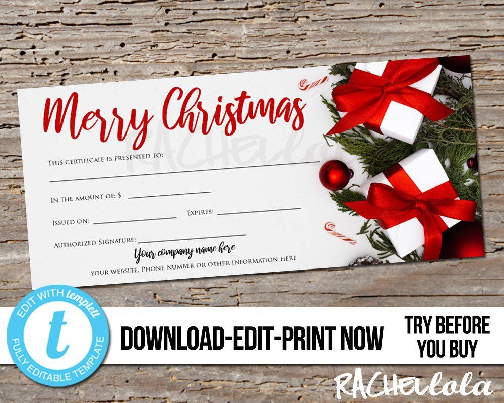 Editable Custom Printable Christmas Gift Certificate Template Etsy Christmas Gift Certificate Template Christmas Gift Certificate Gift Certificate Template