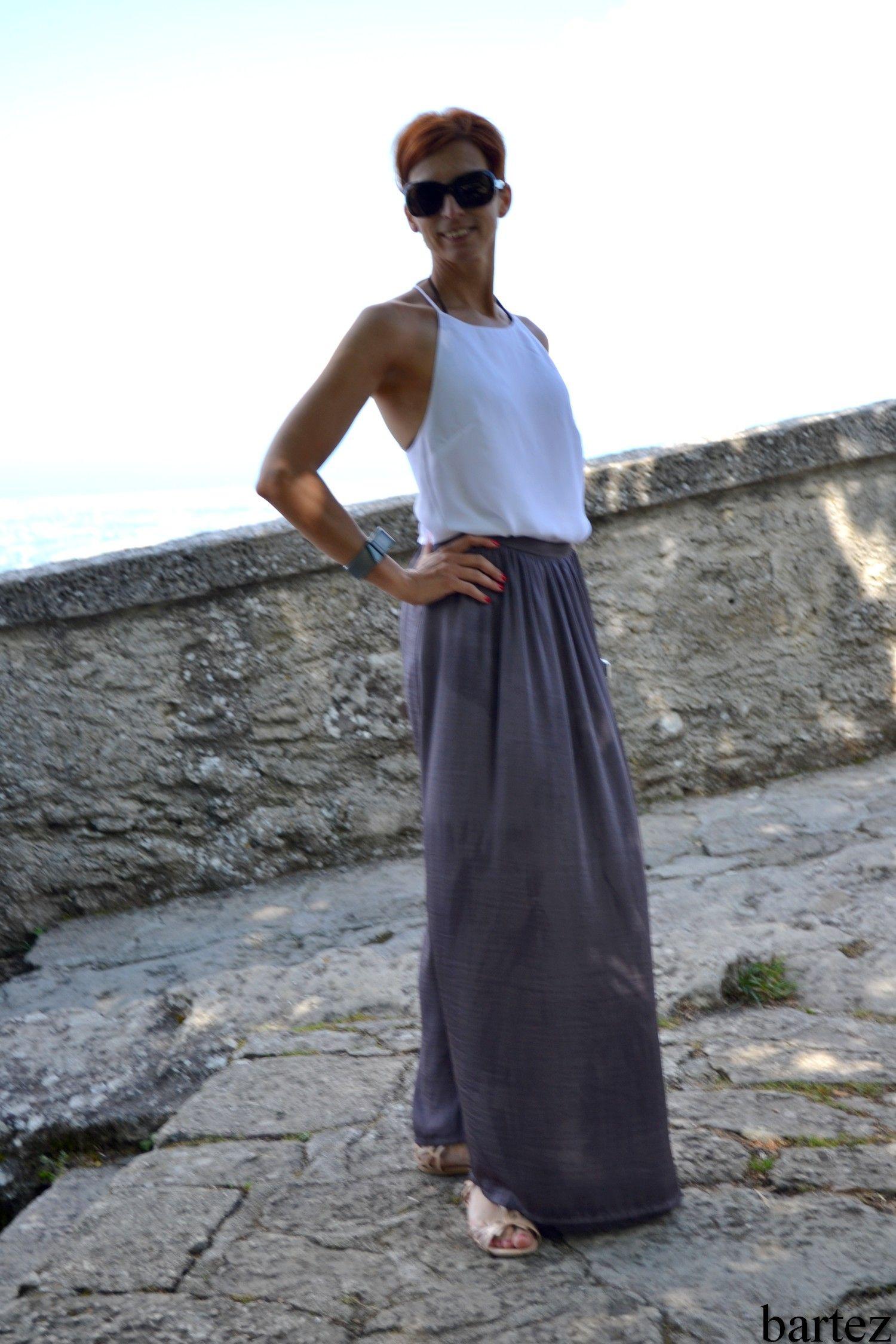gray long skirt