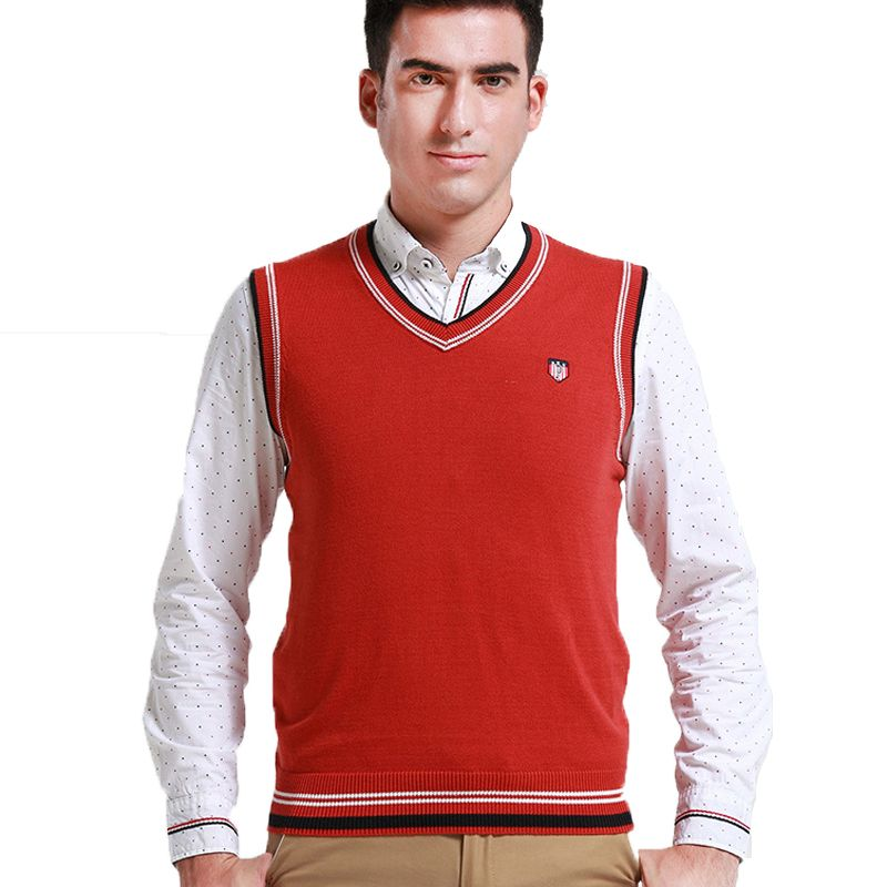2015 New arrival Cotton Sweater Men's Vest striped shirt men ...
