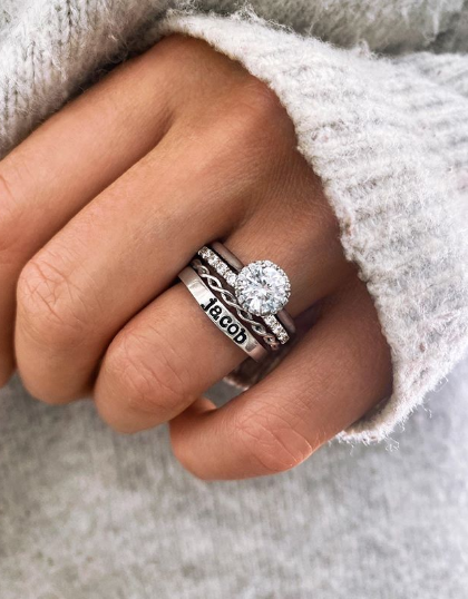 Engagement Ring With Cartier Love Ring As Wedding Band Wedding Ring Set Cartier Love Cartier Love Ring Cartier Love Wedding Band Cartier Wedding Bands