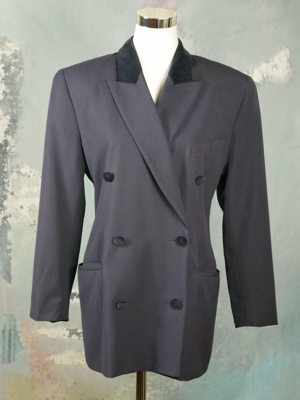 Vintage Midnight Blue Velvet Blazer Tailored Jacket Size 12UK 8US