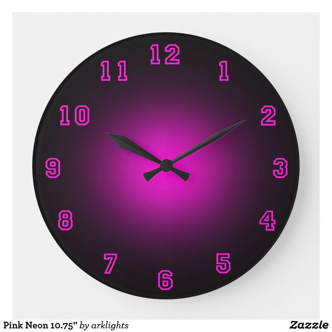 """Pink Neon 10.75"""" Large Clock Clock, Large"""
