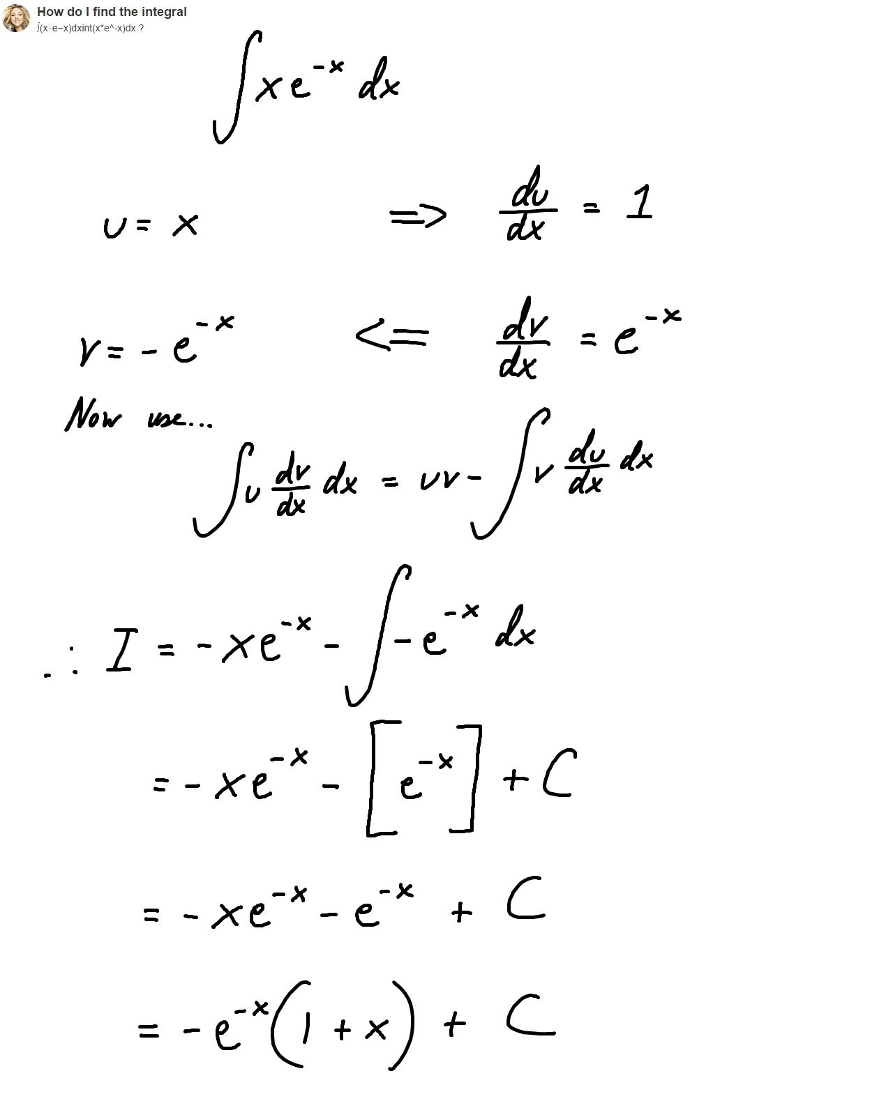 Integrate X E X Dx Answers Math Math Equations