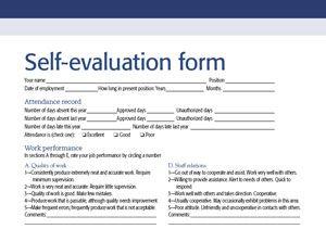 Performance Appraisal Self Evaluation Self Evaluation Employee