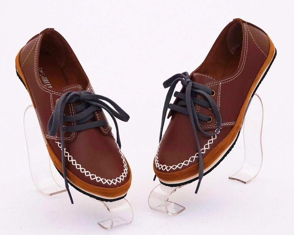 Sepatu Casual Bertali Warna Coklat Model Keren Bahan Kulit